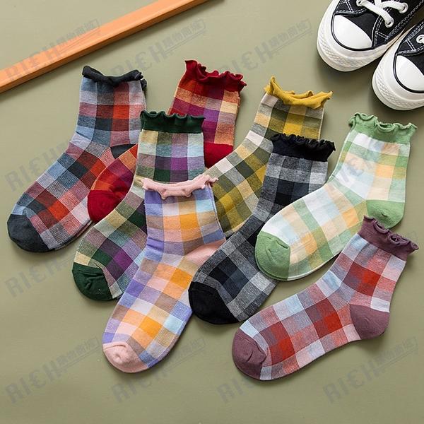 花邊襪子女中筒襪日系ins潮春夏季薄款韓國可愛百搭棉襪格子短襪