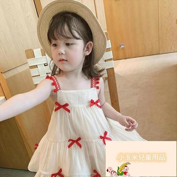 女童連身裙女童公主裙子夏裝兒童吊帶小女孩夏款童裝【小玉米】