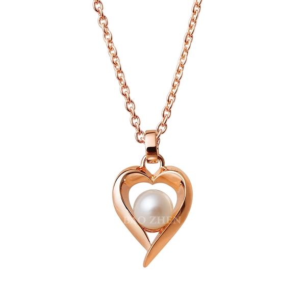 EZGOLD-愛的孕育- 純銀項鍊(玫金)