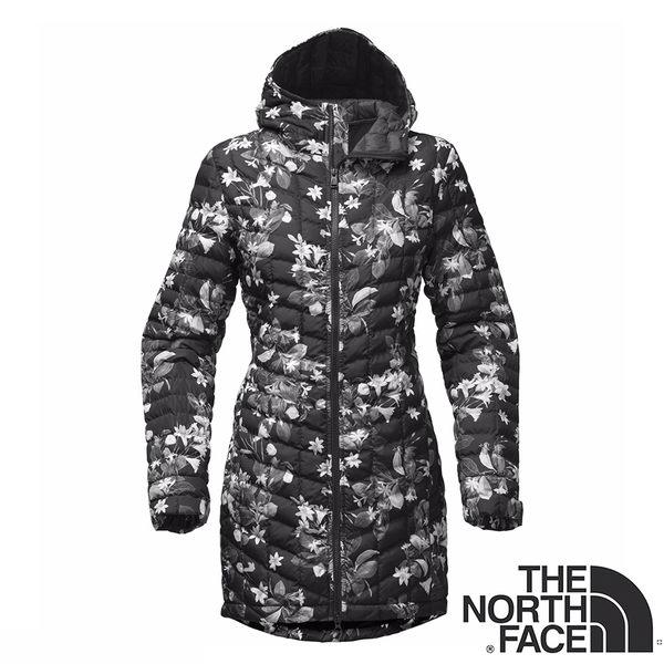【美國 The North Face】女 ThermoBall暖魔球長版保暖外套 『黑色印花』NF0A364B 鋪棉外套 防潑水