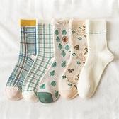 日系格子樹林兔子大人中筒襪 襪子 大人襪 中筒襪