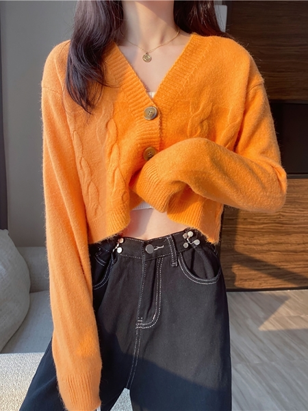 針織開衫 針織衫春秋季冬新款毛衣外套女裝長袖短款v領開衫上衣服外搭