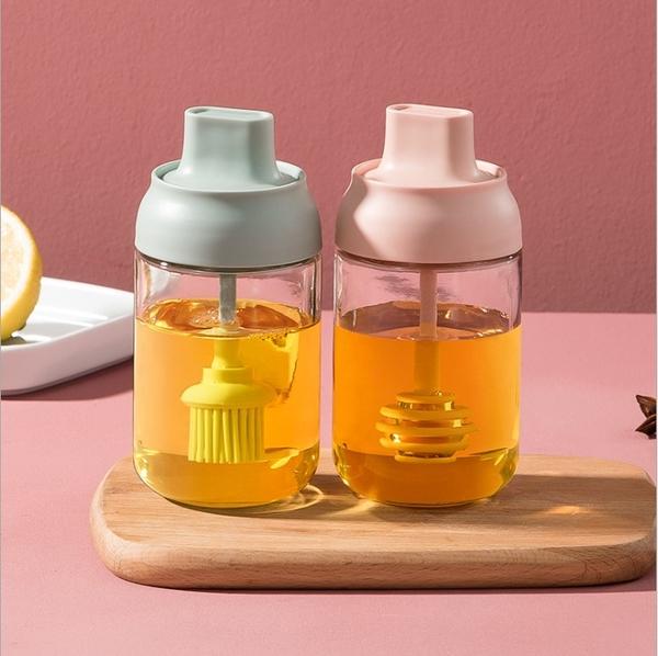 Qmishop 油刷密封罐 250ML 油鹽醬醋 玻璃壺 調味罐 加厚玻璃 油鹽醬醋瓶 勺蓋一體 調味瓶【J2436】