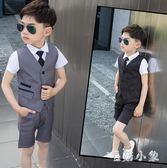 夏季婚禮男童禮服兒童西裝馬甲套裝短袖小孩寶寶三件套西服 DJ12477『毛菇小象』