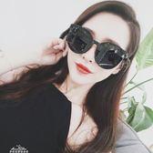 新款潮黑色圓臉顯瘦韓國明星同款偏光太陽鏡女「夢娜麗莎精品館」
