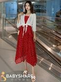 BabyShare時尚孕婦裝 【DO9380】現貨 新品  孕婦裝 度假風 紅色點點吊帶雪紡裙送外罩孕婦裙