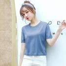 短袖t恤女2021夏季新款薄顯瘦寬鬆打底針織衫小個子短款圓領上衣 果果輕時尚