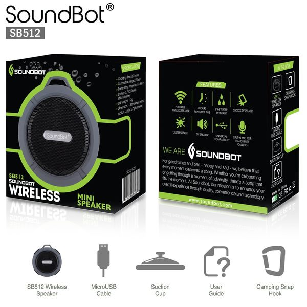 美國聲霸SoundBot SB512 防水防震藍芽喇叭 藍牙隨身音響 福利品