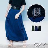 .GAG GLE超大尺碼.【17060018】氣質美人綁帶腰造型棉長裙 3色