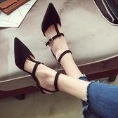 高跟鞋 - 涼鞋尖頭公主一字扣5cm細跟高跟鞋【韓衣舍】