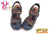 GP涼鞋 男款 磁扣兩穿 水陸兩棲多功能護趾涼鞋I6532#藍橘◆OSOME奧森童鞋/小朋友