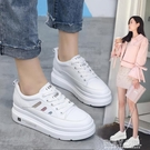 鬆糕鞋 內增高小白鞋女2021春季新款百搭厚底鬆糕白鞋休閒鞋春款鞋子潮鞋 夏季狂歡