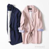 新款寬鬆大碼中長款小西裝休閒百搭西服外套韓版女裝潮  多莉絲旗艦店