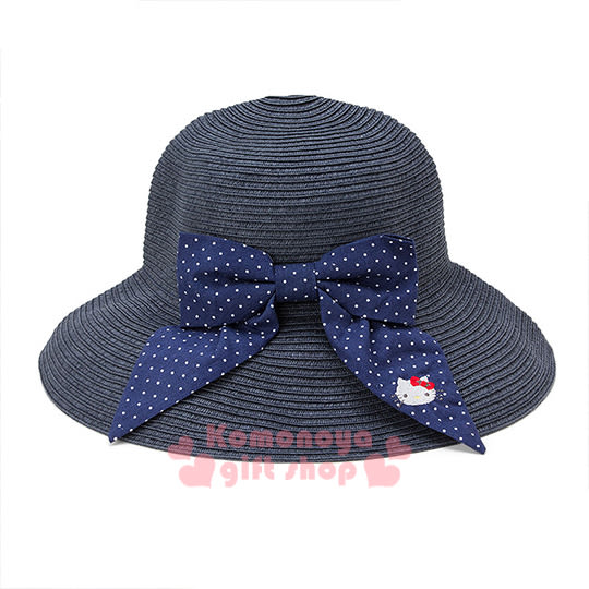 〔小禮堂〕Hello Kitty 編織遮陽帽《藍.大臉.點點蝴蝶結》可折疊收納 4901610-94177