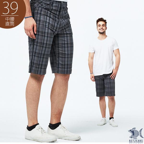【NST Jeans】英倫復古灰格紋 吸濕排汗休閒短褲(中腰) 393(25885)