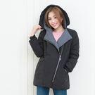 鋪棉外套--保暖禦寒羅紋袖口斜拉鍊暗扣雙口袋連帽鋪棉外套(黑.卡其XL-5L)-J302眼圈熊中大尺碼★