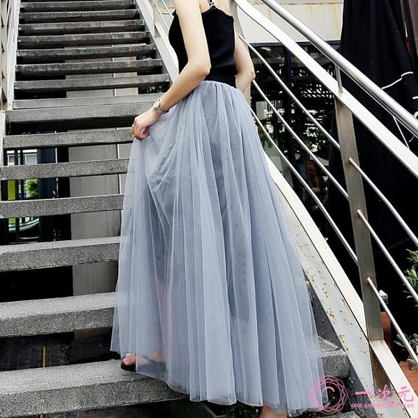 網紗裙 仙女裙裙子網紗裙中長款紗裙新款裙長款網紗半身裙春夏女半身長裙