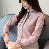 秋裝新款韓版長袖雪紡衫女立領細帶雪紡長袖打底襯衫