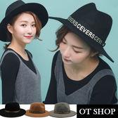 OT SHOP帽子‧韓版中性紳士帽英倫爵士帽金邊造型純羊毛呢氈禮帽‧黑色/灰色/駝色‧現貨‧C1739