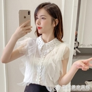 超仙甜美無袖襯衫女2020新款夏裝韓版百...