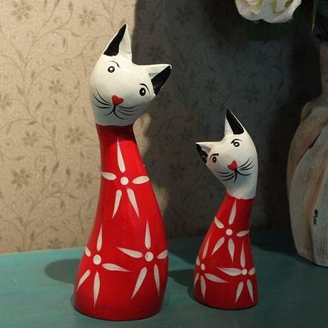 家居飾品小貓貓咪一對日式木質動物擺件裝飾品-nards102