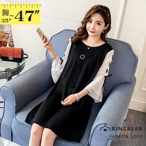黑色洋裝--優雅蕾絲別針領結拼色綁帶五分雪紡荷葉袖A字連身裙(黑L-3L)-D418眼圈熊中大尺碼◎