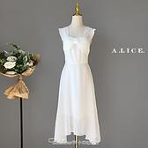 春夏法式輕奢名媛在逃公主長裙白色生日年會氣質釘珠小禮服連身裙禮服 阿卡娜