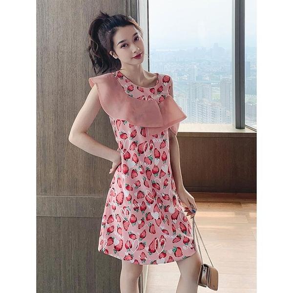 夏裝新款寬鬆氣質露肩無袖雪紡洋裝女神范甜美碎花流行裙子 淇朵市集