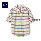 Gap男嬰幼童 時尚彩色條紋長袖襯衫 266163-恬靜羽白色
