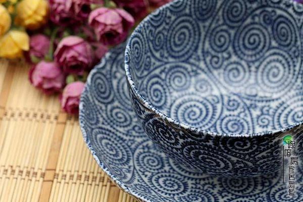 陶瓷餐具古染唐草味 青花大瓷盤子湯碗