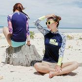 比基尼 泳衣 泳裝    碎花字母氣質兩件套運動長袖泳裝【SF16020】 BOBI  05/19