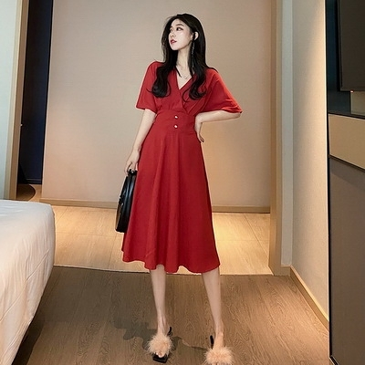 (下殺)夏季短袖復古氣質裙子交叉V領收腰中長版高腰連身裙【08SG06103】