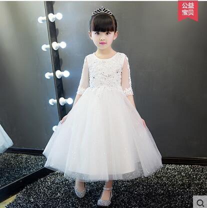 兒童禮服裙公主裙小花童女童婚紗裙蓬蓬裙鋼琴演出服晚禮服白色夏