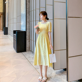 韓系 洋裝 淡奶黃色格子S-XL連身裙女中長款夏季新款a字收腰顯瘦長裙9095 H325 依品國際