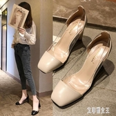 高跟鞋女粗跟方頭女鞋2019春季新款百搭性感透明淺口單鞋涼鞋 LJ4468【艾菲爾女王】