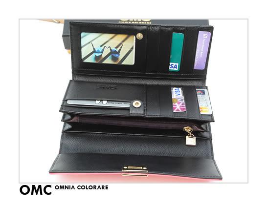OMC - 專櫃雙色系真皮款兩折式長夾- 金黑