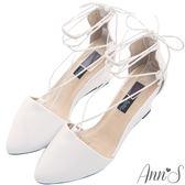 Ann'S輕量優雅-穩固楔型綁帶尖頭跟鞋-白
