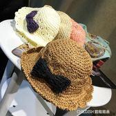 正韓兒童編織蝴蝶結草帽遮陽帽子涼帽女孩寶寶潮正韓沙灘帽防曬帽 童趣潮品