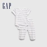 Gap嬰兒 純棉短袖包屁衣長褲套裝 692520-白色