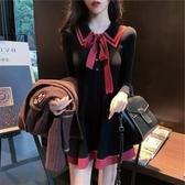 新款女裝秋冬裝小香風法式兩件套裝新年過年衣服針織洋裝子 【傑克型男館】