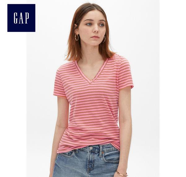 Gap女裝 時尚V領短袖T恤夏季 洋氣休閒衣服女士修身上衣 440753-霓虹粉