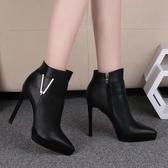 歐美短靴女秋冬尖頭鞋女靴子細跟短筒馬丁靴防水台高跟鞋裸靴 歌莉婭
