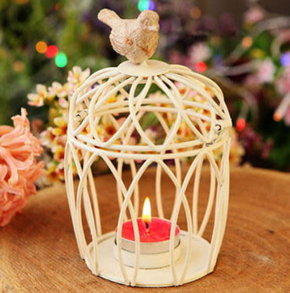 F0562 簡約家居裝飾品田園古典白色鐵藝工藝品 圓形鳥籠燭台 浪漫情懷