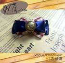 【YT店髮飾】英倫格紋緞帶蝴蝶結髮夾/髮飾/頭飾/彈簧夾(G007)
