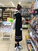 孕婦洋裝 孕婦春秋裝連衣裙2021辣媽韓版時尚長款裙子寬鬆冬季針織毛衣裙潮 歐歐