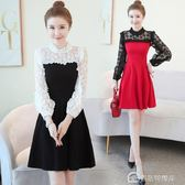 氣質高冷有女人味黑白拼接假兩件修身顯瘦蕾絲洋裝