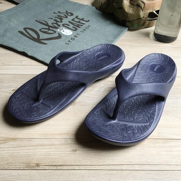 台灣製造-動能-Q軟厚底一體成型人字拖鞋-藍