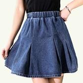 牛仔裙--個性韓版高腰鬆緊褲頭A字百褶牛仔短裙(藍M-5L)-Q106眼圈熊中大尺碼◎
