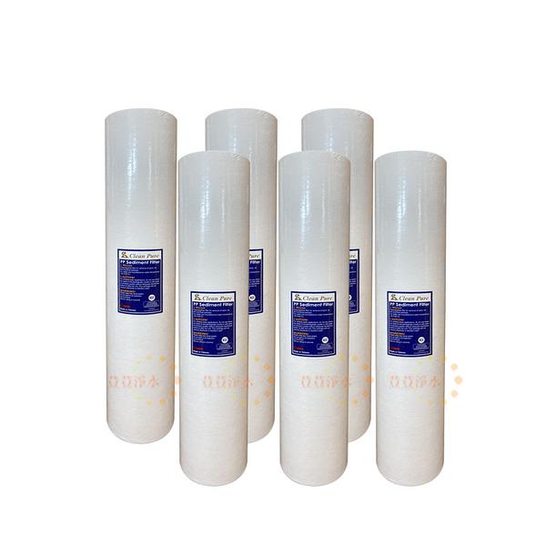 (6支入)CLEAN PURE 20英吋大胖1微米PP濾心 NSF SGS雙認證 20吋 大胖濾心 全戶過濾