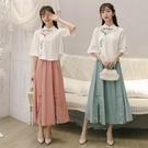 新款中國風連衣裙改良版旗袍漢服套裝夏季民國風女裝漢元素兩件套